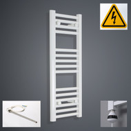 300 mm Wide x 800 mm High Electric Prefilled Straight White Heated Towel Rail Radiator