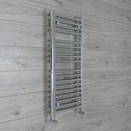 400mm wide 900mm high flat chrome heated towel rail angled valves