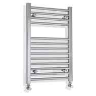 400mm wide 688mm high flat chrome heated towel rail with angled valves