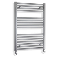 450mm wide 800mm high flat chrome heated towel rail with angled vlaves
