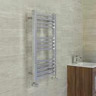 450 x 800 Flat Chrome Square Tube Heated Towel Rail Bathroom Radiator