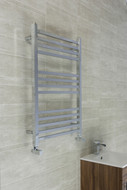 530mm wide  x 800mm High Flat Square Tube Chrome Ladder Type Heated Towel Rail With Electric Options