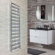 500mm Wide 1700mm High Heated Square Tube Chrome Ladder Type Towel Rail With Electric Options