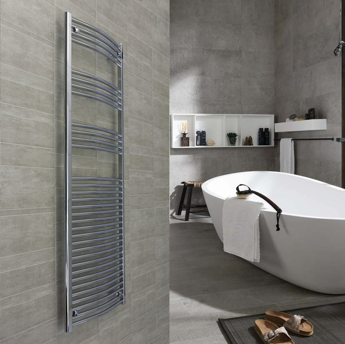 600 x 1760 Curved Chrome Heated Towel Rail Bathroom Radiator in bathroom