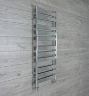 500mm Wide 1200mm High Flat Panel Chrome Heated Towel Rail Radiator straight valves