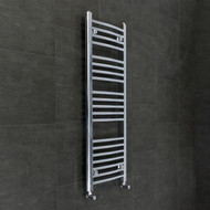 450mm Wide 1100mm High Flat Chrome Heated Towel Rail Radiator with angled valves