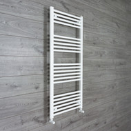 550mm Wide 1200mm High Heated Flat White Ladder Type Towel Rail With angled valves