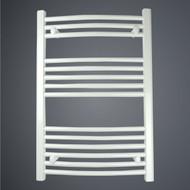 550 x 800 Curved White Heated Towel Rail Bathroom Radiator