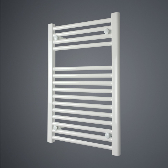 450 x 700 Straight White Heated Towel Rail Bathroom Radiator