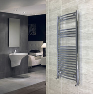 500mm wide 1200mm high curved chrome heated towel rail radiator