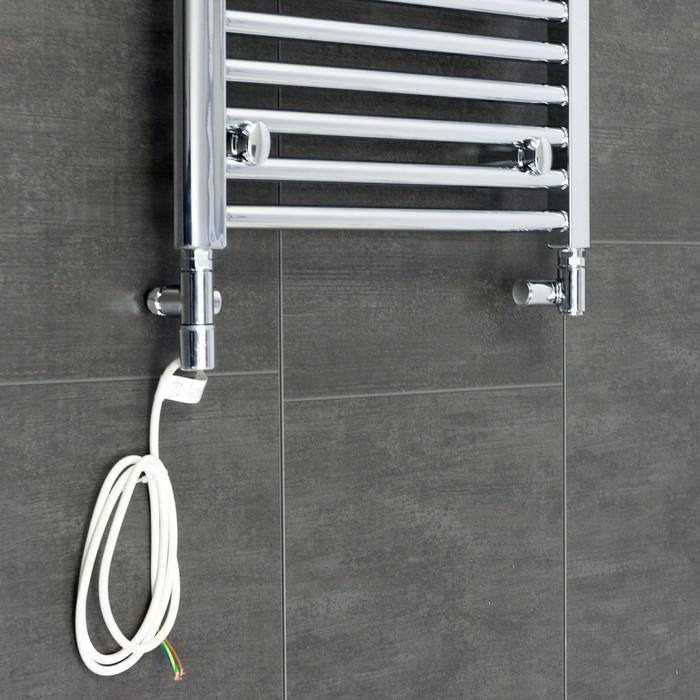 Kudox Electric Towel Rail 400mm X 700mm Chrome: Towel Rail Dual Fuel Kit With Valve