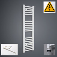 00mm Wide x 1000mm High Electric Prefilled Straight White Heated Towel Rail Radiator