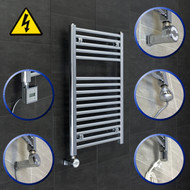 500mm Wide x 760mm High Electric filled Straight Chrome Heated Towel Rail Radiator