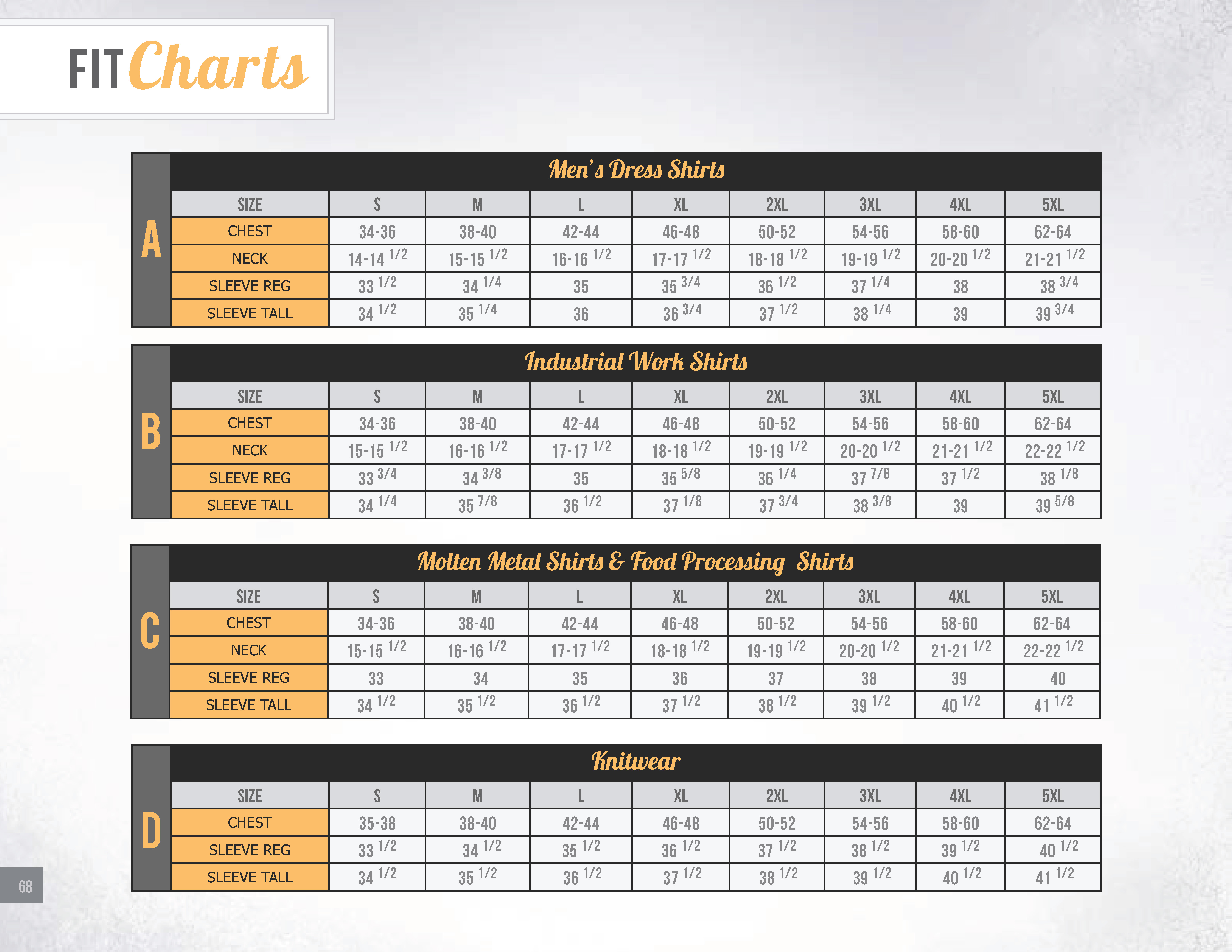 Sizing chart for BigBill products