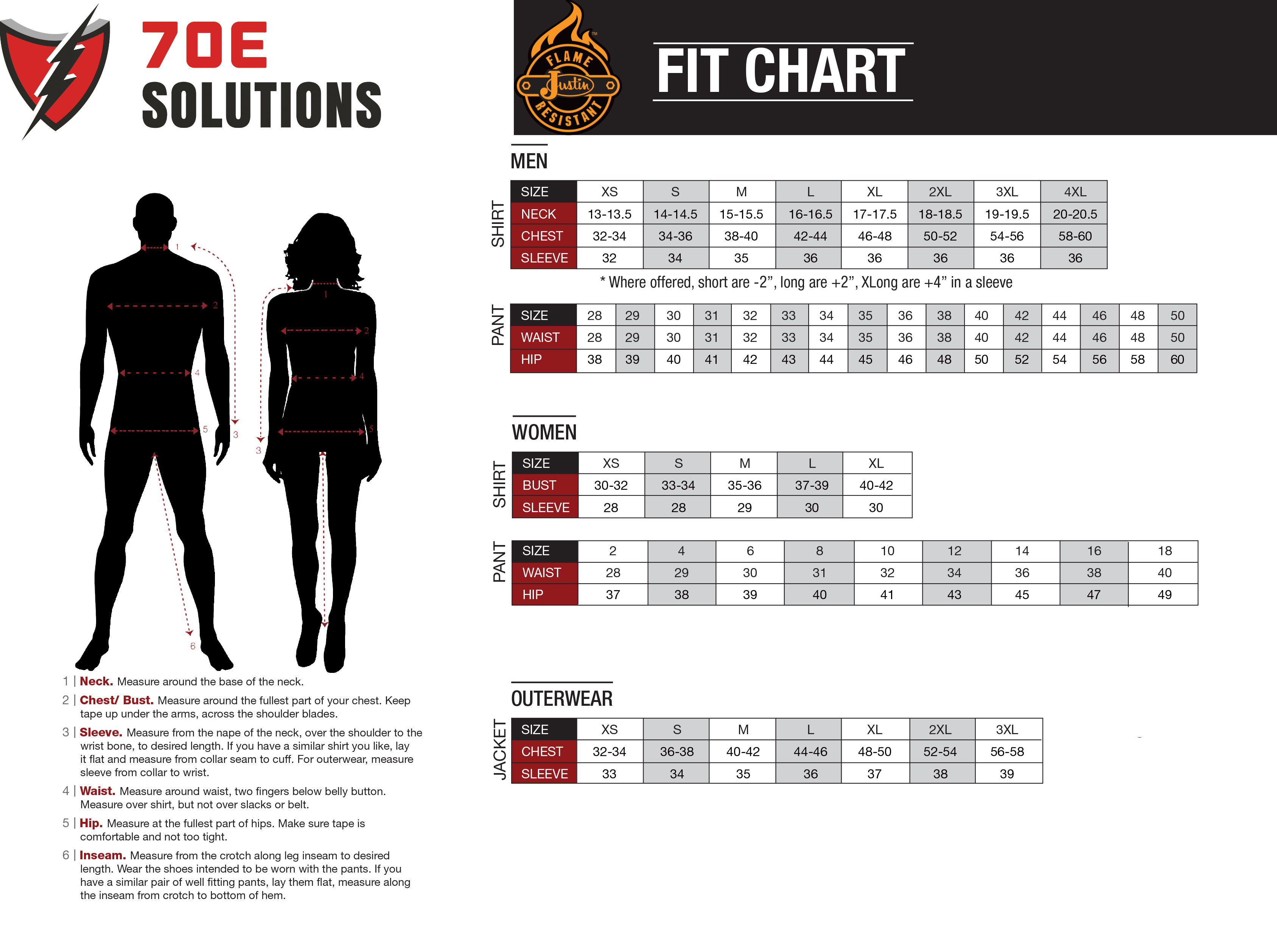 Sizing charts for JustinFR Garments. Use this to determine the size of garment needed.