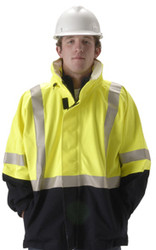 Nasco Omega 5000 Series Navy/Fluorescent Yellow Waist Length Jacket ## 5503JNFY ##
