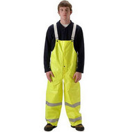 Nasco Omega 5000 Series  Fluorescent yellow bib style trouser with snap fly front ## 5001TFY ##