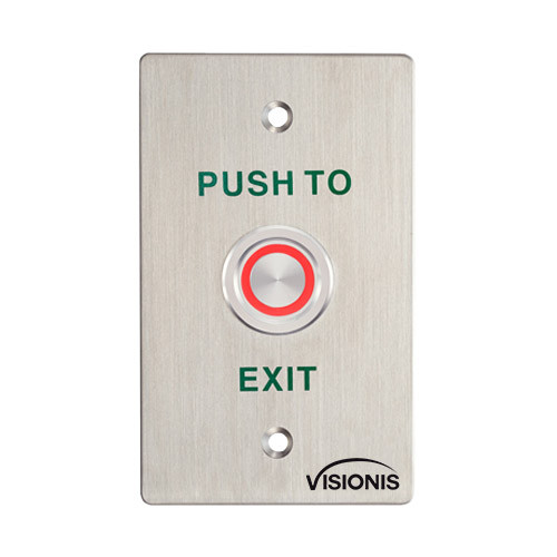 OUTDOOR WEATHER AND WATERPROOF EXIT BUTTON STANDARD SIZE FOR DOOR ACCESS CONTROL WITH LED LIGHT, NO AND COM OUTPUTS - 356-7011