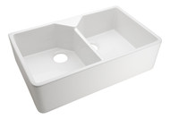 """Barclay Kitchen Apron Front Farm Sink Double Bowl in White 31.5"""""""
