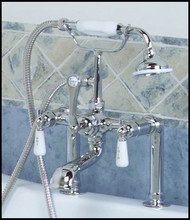 Chrome Tub Rim-Mounted Faucet &  Hand Shower - Lever - Barclay