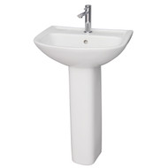 Barclay Lara 510 Pedestal Sink, 1-Hole Faucet, White Finish