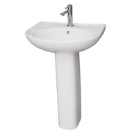 Barclay Cynthia 570 Pedestal Sink, 1-Hole Faucet, White Finish