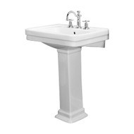 "Barclay Sussex 550 Pedestal Sink, 8"" Widespread, White Finish"