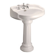 "Barclay Vicki Pedestal Sink, 8"" Widespread, Bisque Finish"