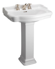 "Barclay StanFord 600 Pedestal Sink, 8"" Widespread, Bisque Finish"