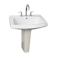 "Barclay Galaxy 28"" Pedestal Lavatory Sink, White Finish, 8"" Widespread"