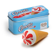 Cornetto strawberry ice cream in a tin