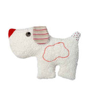 Baby dog rattle, organic cotton and wool