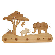 elephants & monkey coat rack