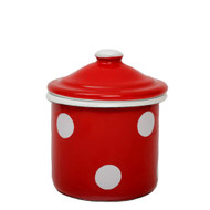 red dotted sugar bowl with lid