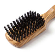 olive wood rectangular hair brush