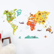 World Map fabric wall decals