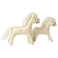 Glueckskaefer wool felt horse, white