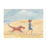 Boy and dog on the beach postcard