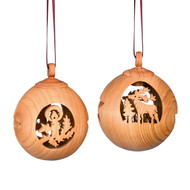 Wooden Christmas tree ornaments, 6 cm diameter.  Made in Germany.