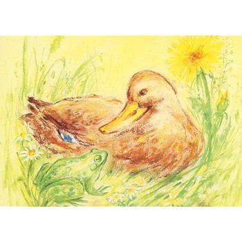 Duck and frog postcard by M. v. Zeyl