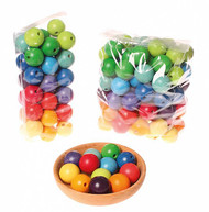 wooden beads, multi-coloured 30 mm