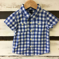 Baby Gap Blue & White Gingham Button Up Shirt