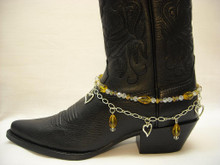 Boot Candy Amber Crystals and Hearts