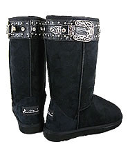 Montana West Black Suede Boots with Buckle, Studs and Rhinestones