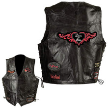 Lady Rider Genuine Black Leather Vest