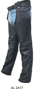 Buffalo Leather Chaps Plain,  Lined, with Antique Hardware