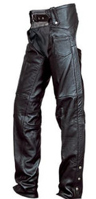 Ladies Hip Hugger Plain Split Cowhide Leather Chaps, Lined, with Silver Hardware