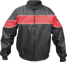 Men's Water Resistant Nylon Rain Jacket with Reflective Piping on Colored Stripe
