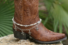 Boot Candy White Crystals, Pearls and Crosses