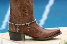 Boot Candy Gun Metal Pearls and Black Crystals with Oval Cross Design Charm